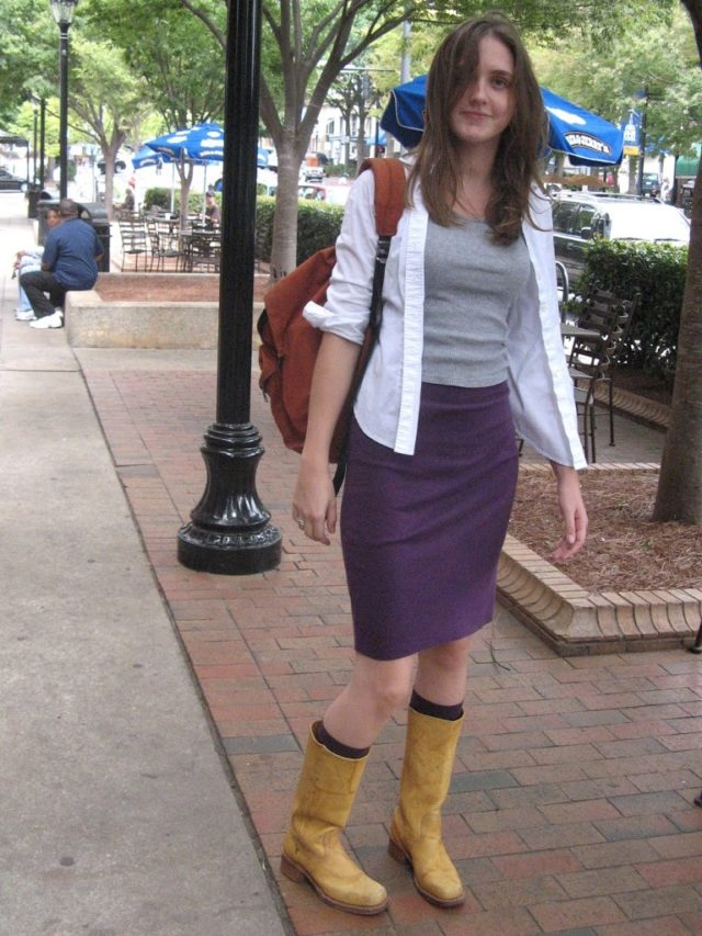 Tan boots with skirt