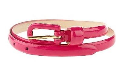 hot pink skinny patent belt