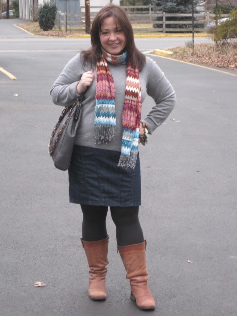 alison gary gray sweater denim pencil skirt