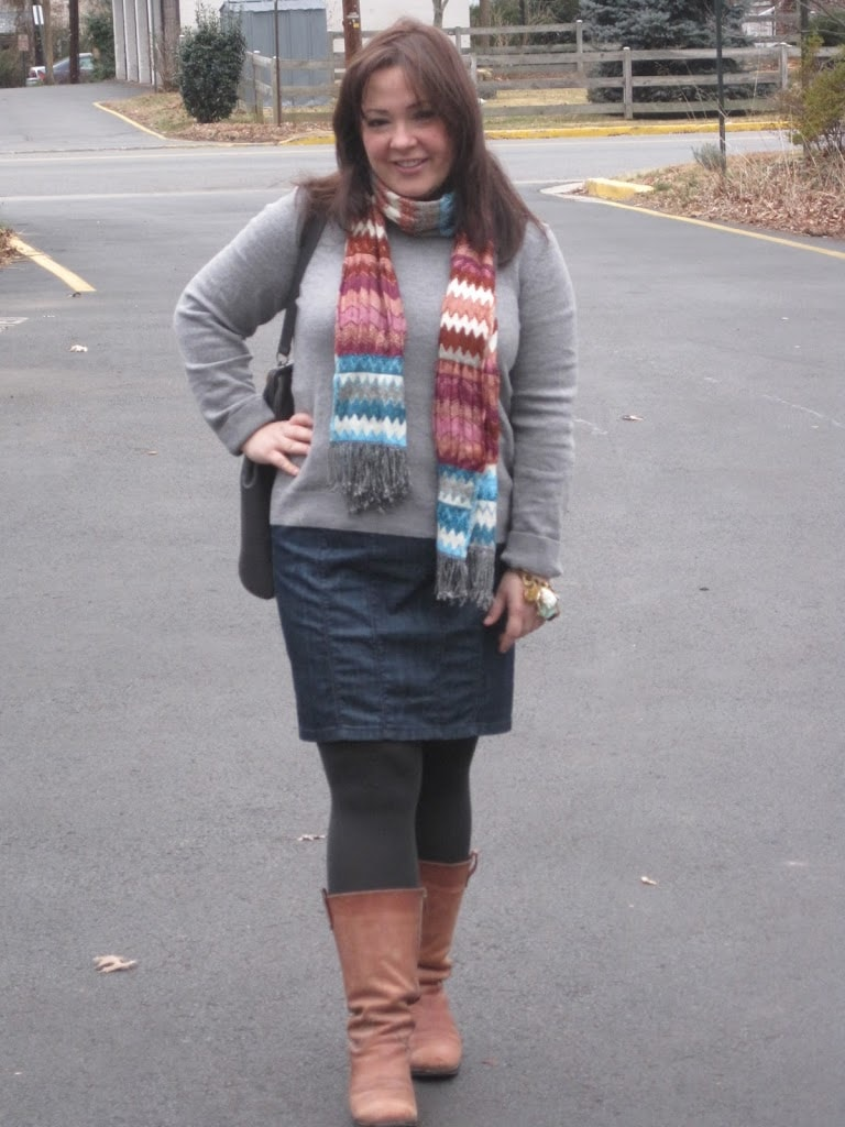 gray sweater denim pencil skirt tan boots tolani scarf