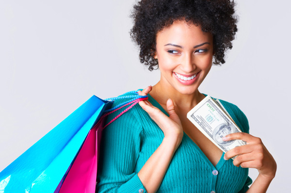 woman shopping on a budget