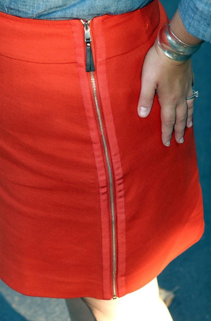 ann taylor skirt orange zipper