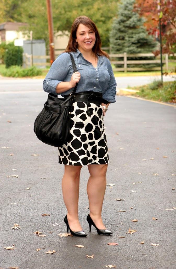 chambray shirt LOFT skirt