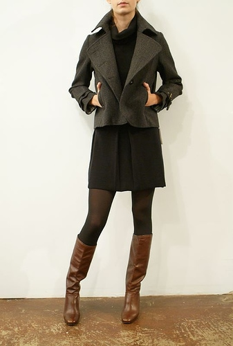 black tights brown boots