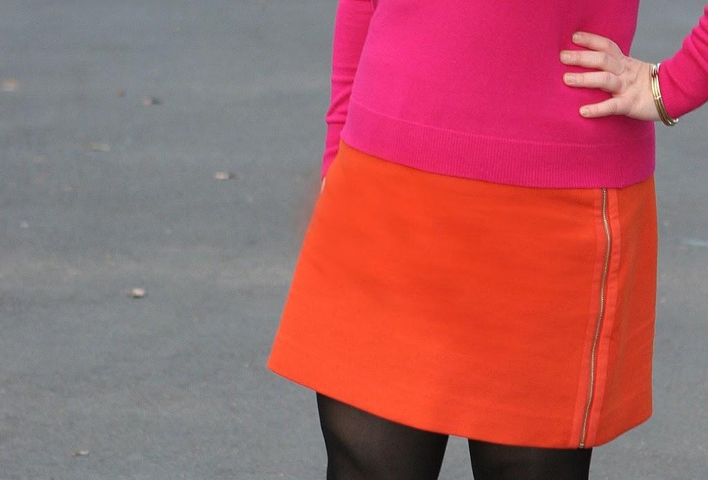 orange ann taylor skirt