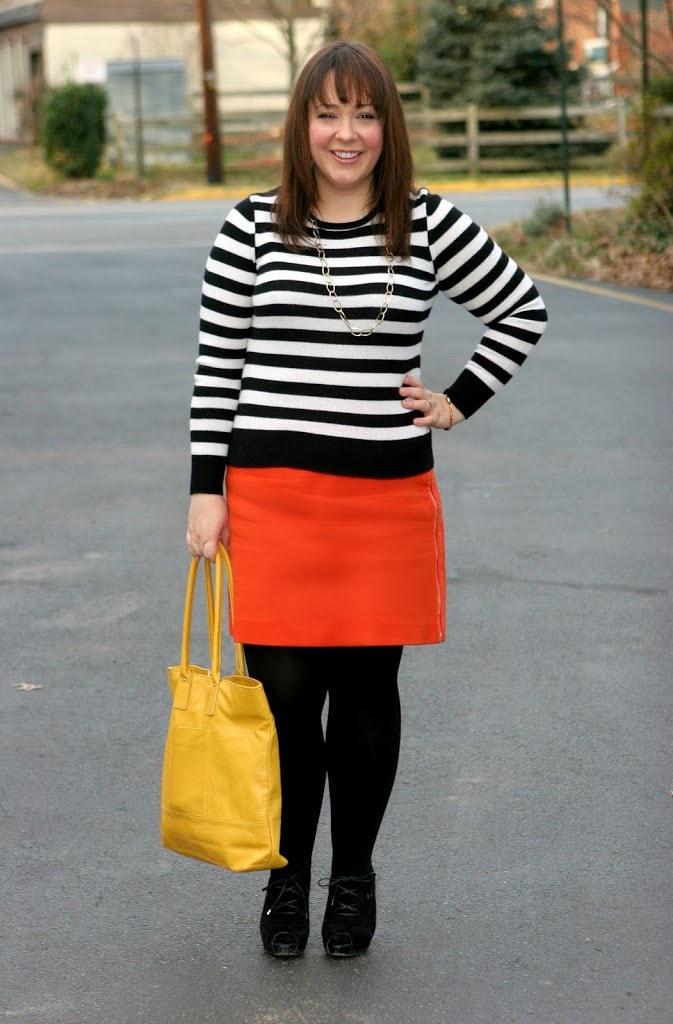 ann taylor orange skirt