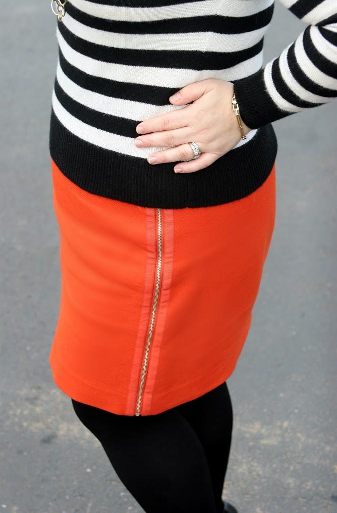ann taylor zipper skirt orange
