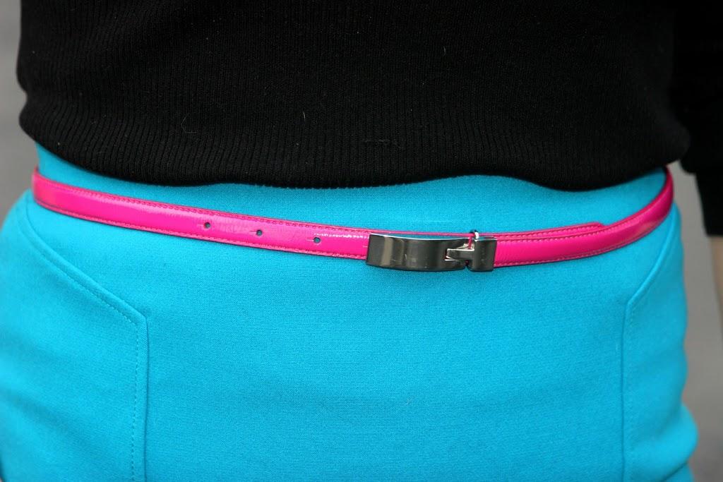 hot pink skinny belt