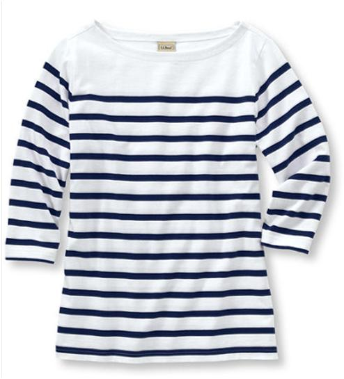 Reviewing a classic l l bean summer boatneck pullover for Striped french sailor shirt