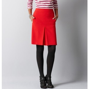 LOFT red front pleated skirt