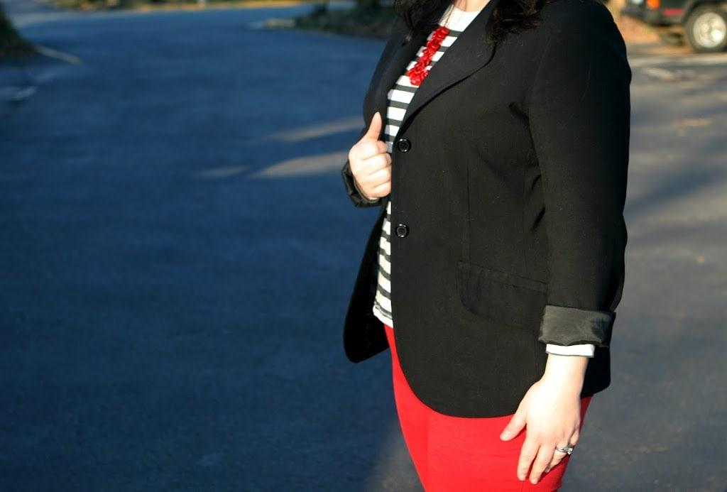 black blazer striped tee