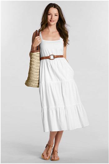 lands end smocked back dress white linen