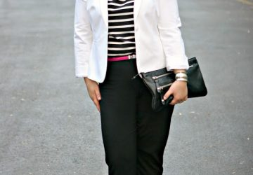 Friday – White Blazer with Stripes