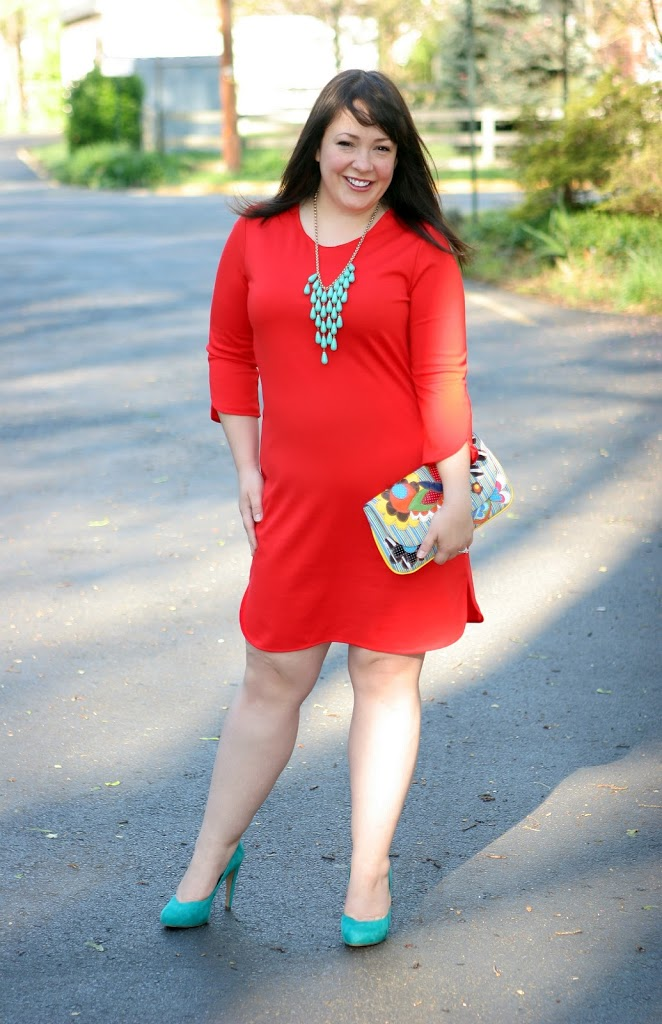 new york company red dress cutout