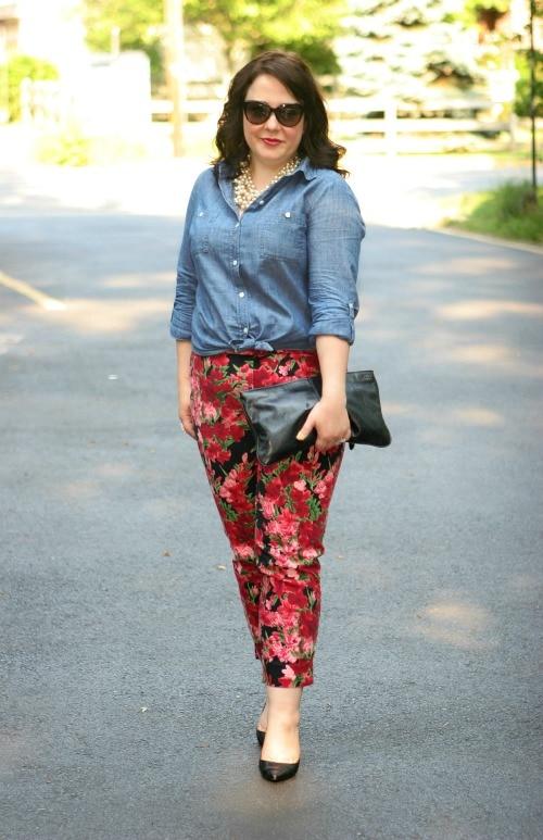 chambray shirt floral pants