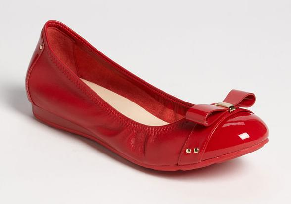 cole haan air monica ballet bow flat red patent