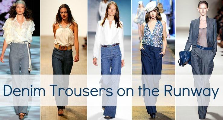 denim trousers runway