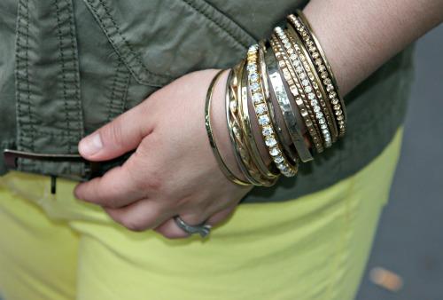 gold bangle bracelets arm party