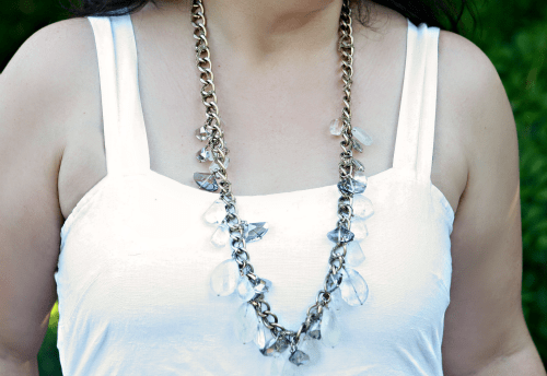 gold chain and crystal necklace