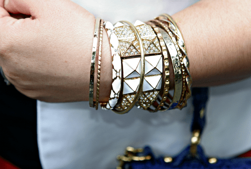 gold white arm party
