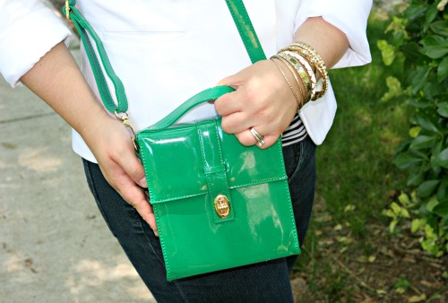 green patent leather bag purse