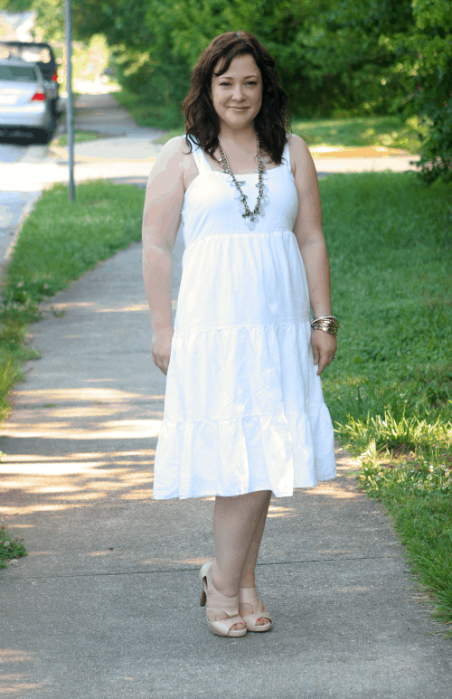 lands end white cotton linen sundress worn by alison gary