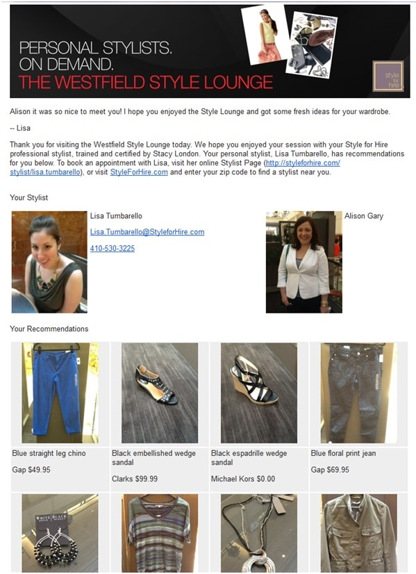 westfield style lounge email