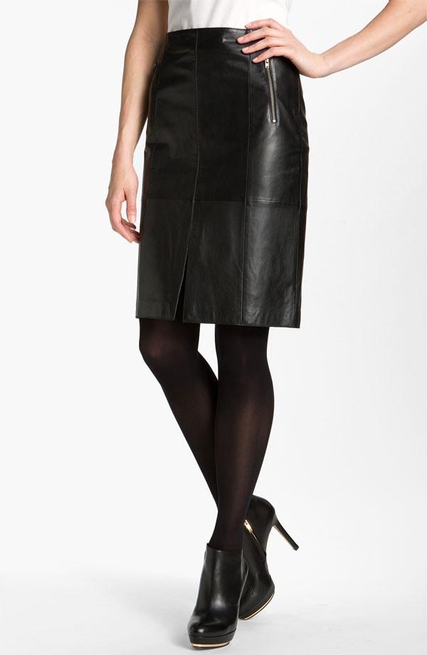 Halogen Seamed Leather Pencil Skirt