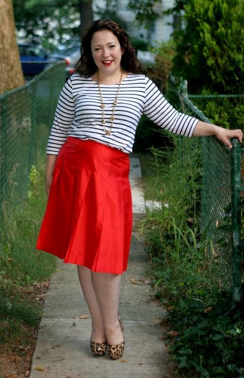 breton stripe shirt red skirt