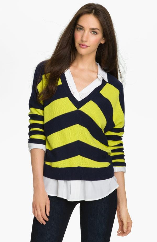 caslon v neck chevron stripe sweater