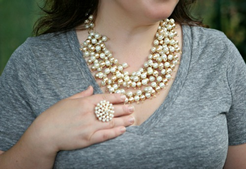 stella dot necklace ring pearls