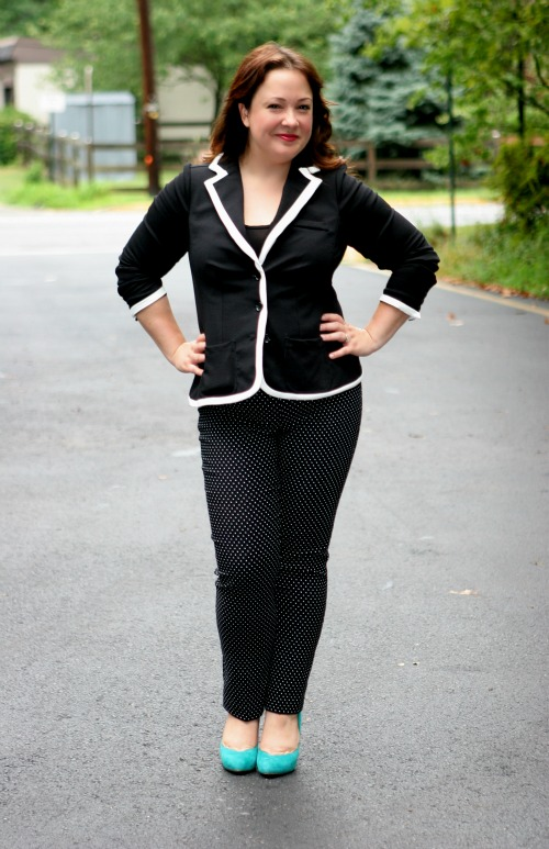 white piped blazer black knit