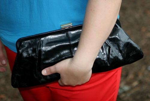 black leather Hobo clutch