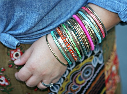 gold and colored bangle bracelets