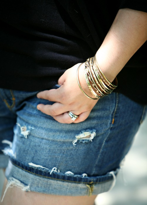 gold with distressed denim