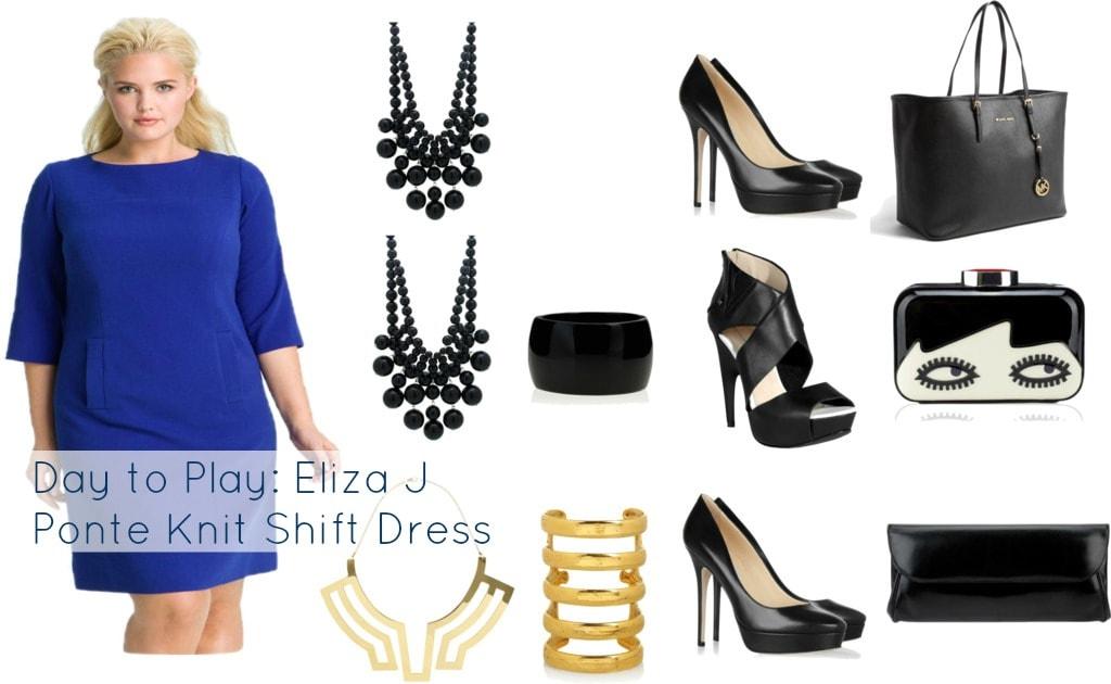 Eliza J Ponte Knit Shift Dress