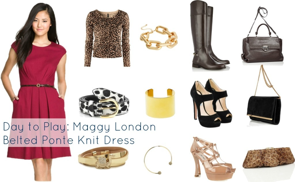 Maggy London Belted Ponte Knit Dress