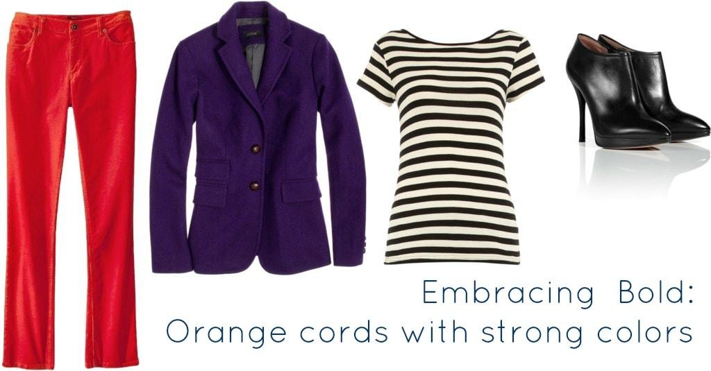 Orange Cords with Purple Jacket