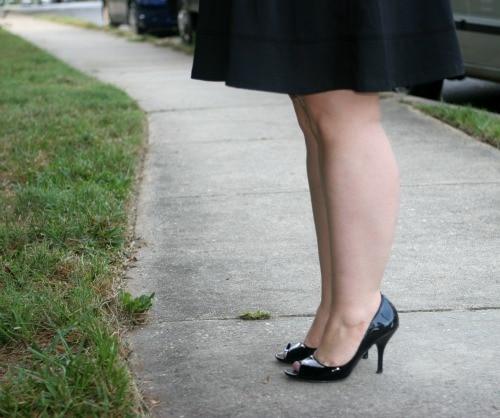 black patent peep toe pumps