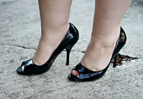 black patent peeptoe pumps