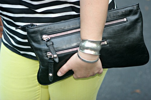 leather clutch zippers