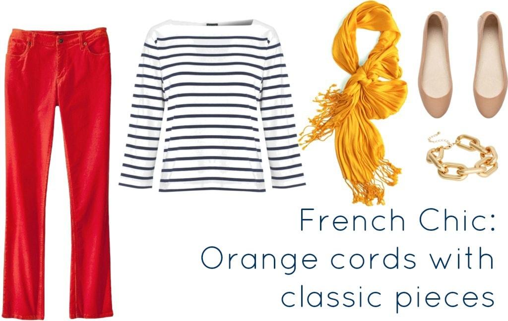 orange cords with breton tee
