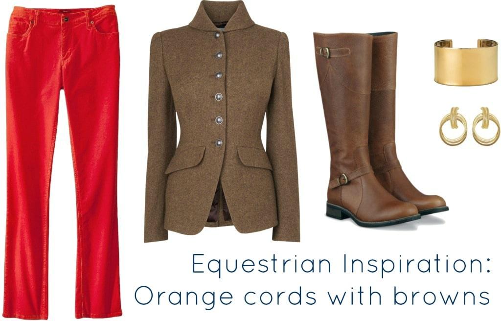 orange cords with equestrian jacket