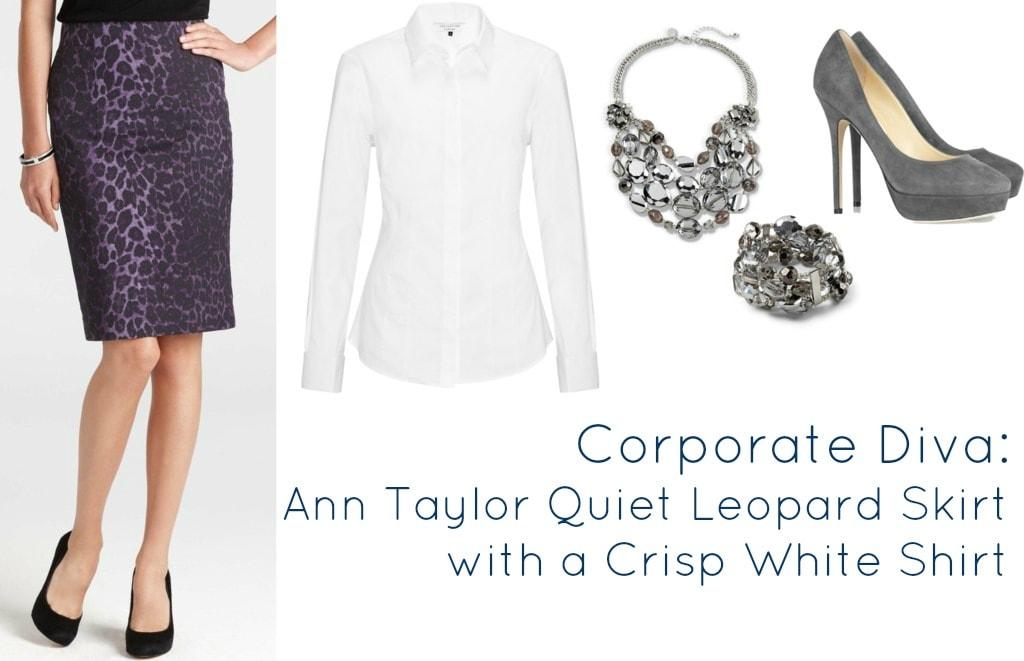ann taylor quiet leopard skirt purple 2012
