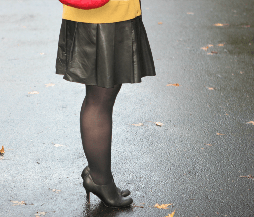 leather skirt and tights