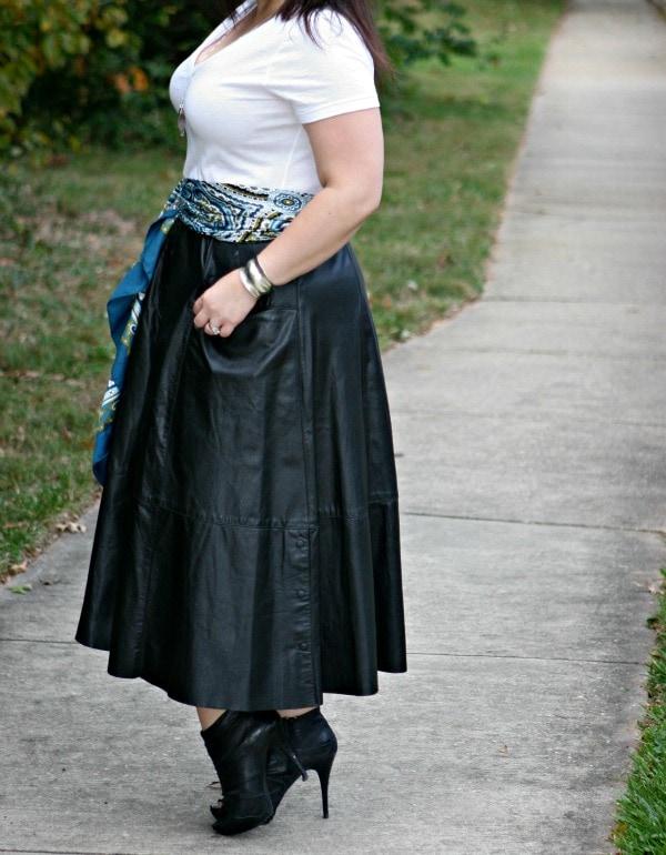 long black leather skirt vintage
