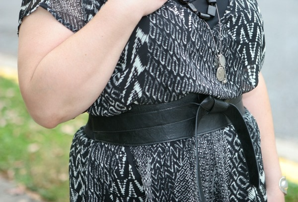 chiffon dress leather belt