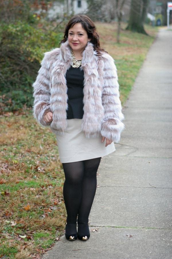betsey johnson faux fur coat