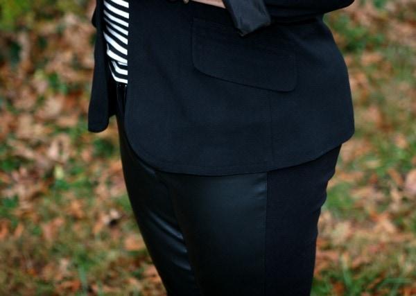 faux leather front pants