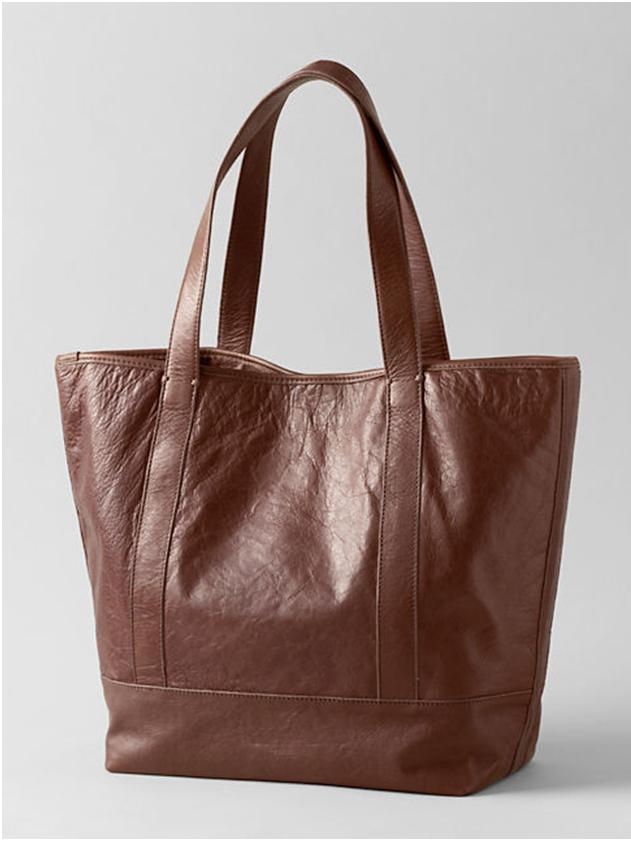 lands end sophisticated shopper tote leather